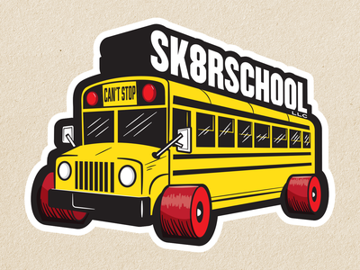 Skateboarding School Logo Concept school bus skateboard graphics skateboard vector logos branding logo design logo graphic design illustration