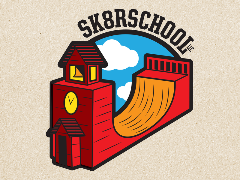 Skateboarding School Logo Concept schoolhouse skateboard graphics vector logos branding logo design logo graphic design illustration