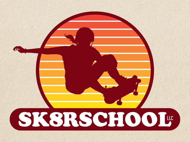 Skateboarding School Logo Concept retro style skateboard graphics skateboarder skateboard vector logo concepts logos branding logo design logo graphic design illustration