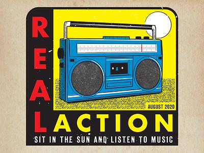 Faux Travel Decal rainbow music travel decal retro design decal radio design vector vector illustration graphic design illustration