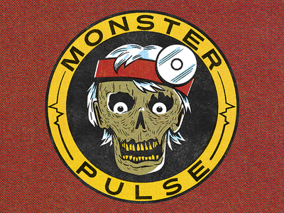 Monster Pulse true grit texture supply debaser lo-fi comic coloring kit comic book style retro style logo podcast logo monster ec comics comic book illustration