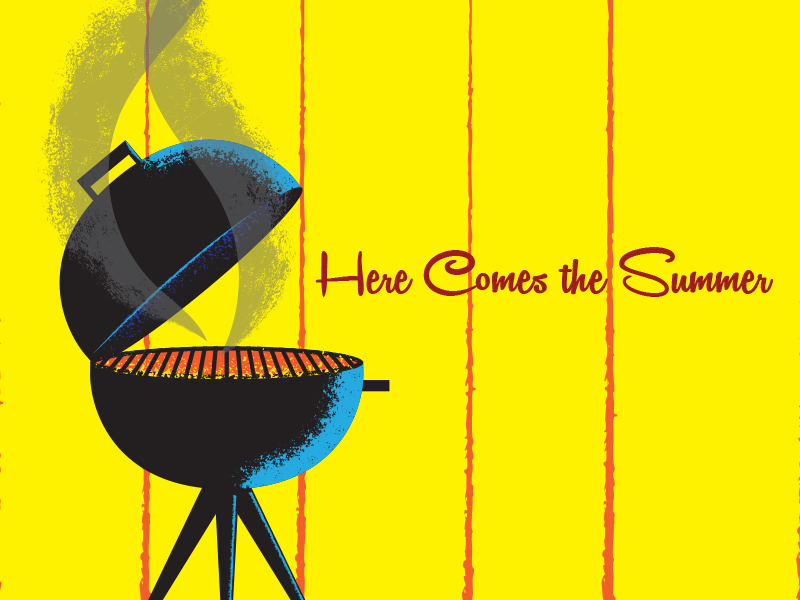 Here Comes the Summer sketch grilling summer vector vector illustration graphic design illustration