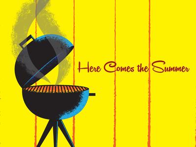 Here Comes the Summer sketch grilling summer vector vector illustration graphic design illustration