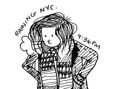 Doodle 01 // Black Denim new york new york city hand-drawn ink walking nyc rain denim jacket denim drawing illustration doodle