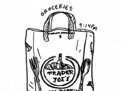 Doodle 02 // Trader Joes hand-drawn drawing doodles illustration subway nyc trader joes bag gorcery bag groceries trader joes new york city late night