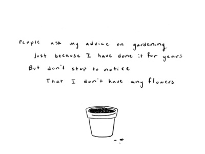 Gardening hand-drawn sketch drawing procreate ipad personal plant pot pot gardening black and white ink illustration ink simple originalpoetry poetry illustration handwriting
