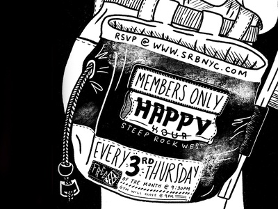 Steep Rock Bouldering Happy Hour drawing nyc ad chalk bag sketch instagram design climbing bouldering rock climbing procreate ipadpro ipad illustration instagram members only happy hour