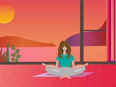 Violet evening yoga pinterest pink color adobe illustrator vector illustration design