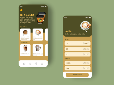 Coffee Order App Design coffeeapp coffeeshop ui illustration design app