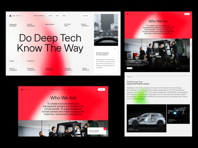 WayRay Concept red lights web minimal desktop website