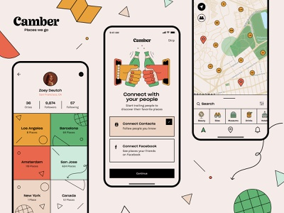 Camber App app color illustration travel app