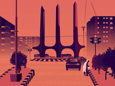 City Illustration pakistan karachi city graphic  design art vector illustration