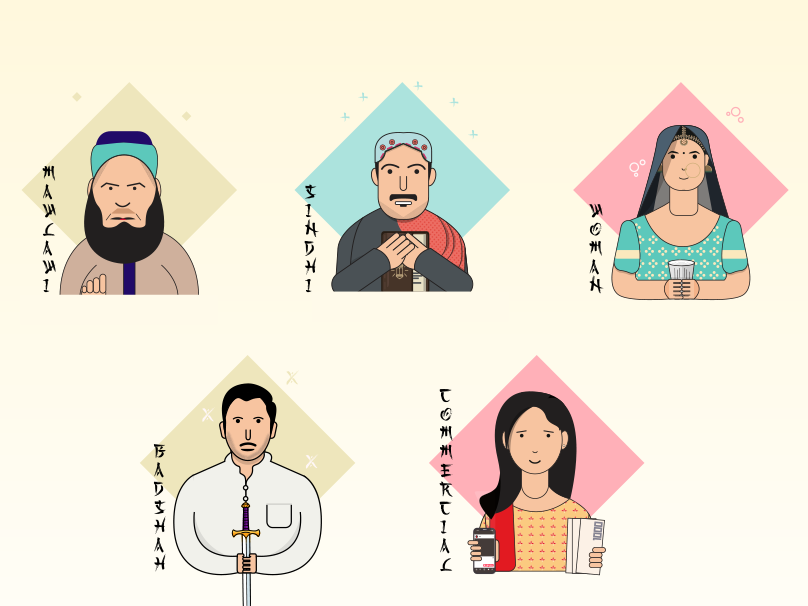 Characters traditional style character design illustration