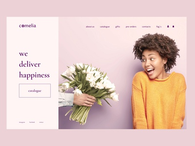 Camelia flower shop clean graphic design ux website web logo branding ui typography design