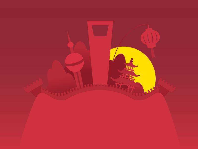 China Sunset illustration china shanghai temple lantern