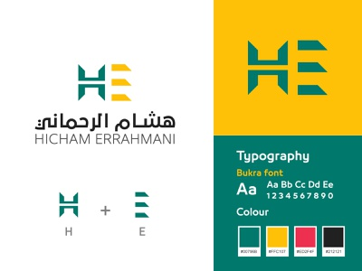 Hicham Errahmani logo & brand identity design book culture simple monogram lettermark content creation education logodesign author influencer facebook youtube social-media branding logo