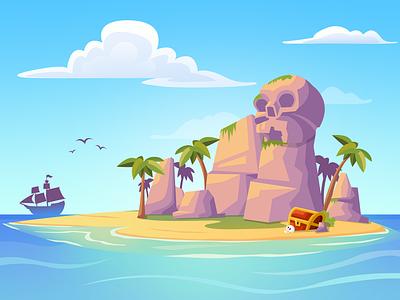 Treasure Island pirate treasure chest vector island treasure art design illustration