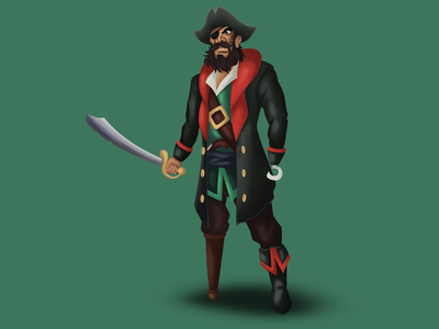 Pirate game character game art painting drawing pirate character design character