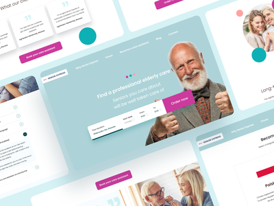 Senior Express - Senior's Care Website 👵 👴 order form app healthcare care help health senior website web typography ux vector ui design