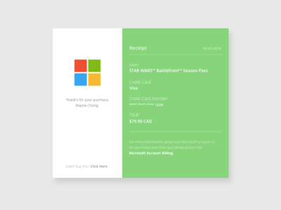 Day 017: Microsoft Email Receipt