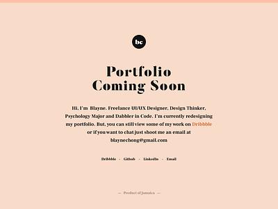Portfolio Coming Soon ux ui editorial typography web page landing portfolio soon coming