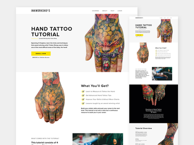 Course Page sales marketing webdesign webpage tutorial tattoo education ux ui