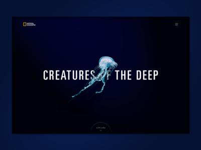Creatures Of The Deep hero animal jellyfish ocean typography landing page nat geo