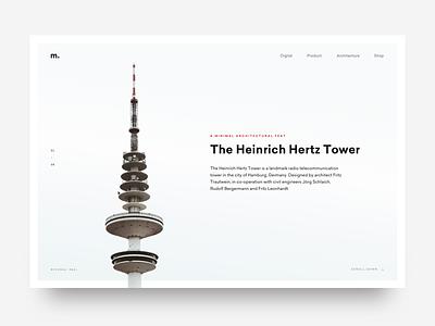 Minimal Mag. tower architecture editorial magazine ui article