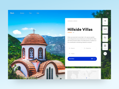 Rest. service greece booking vacation travel ui cards airbnb hotel