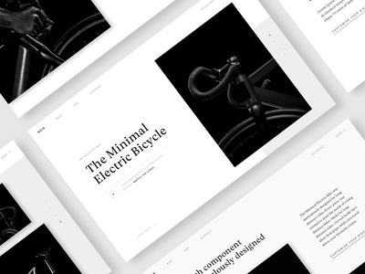 Noir shop ecommerce ui typography type black and white bicycle