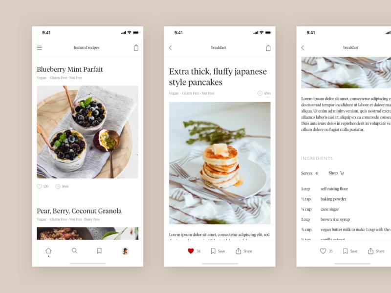 Recipe App concept meal breakfast food editorial typography ui ux app recipe