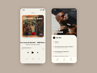 Preach - A Music App ui design uidesign ui typography music app music tory lanez mobile app app music player