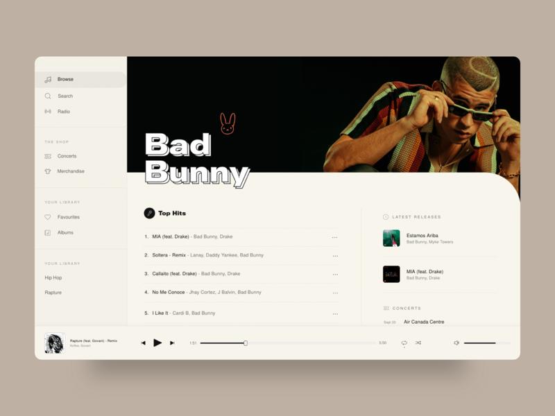 Preach - Desktop Music App typography hip hop desktop app ui music app ui music player music app music