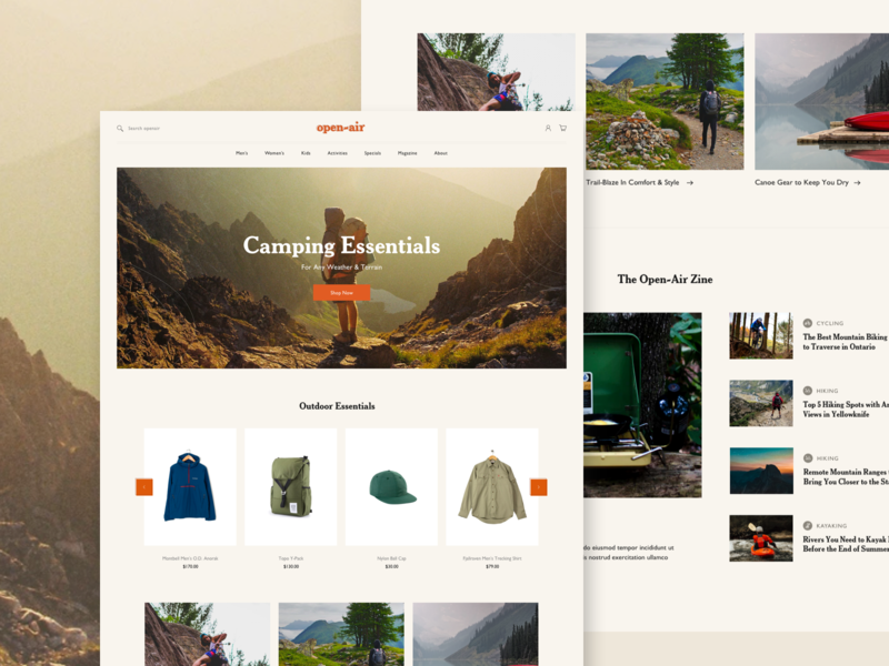 Open-Air shopify theme web outdoors outdoor apparel clothing shop ecommerce ui editorial design editorial