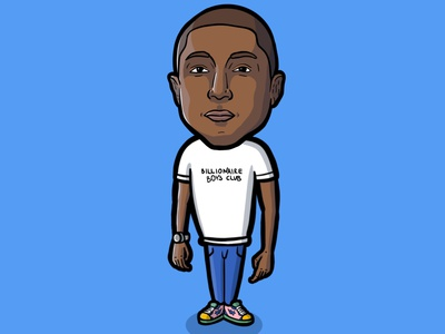 PHARRELL character illustrator cartooning cartoon illustration cartoon character procreate cartoon illustration billionaire boys club music producer rapper pharrell art pharrell williams pharrell