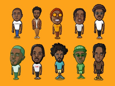 TOP 10 cartoon cartoon illustration procreate travis scott tyler the creator frank ocean kendrick lamar j cole anderson paak childish gambino pharrell channel tres asap rocky rnb hiphop musicians rappers top10