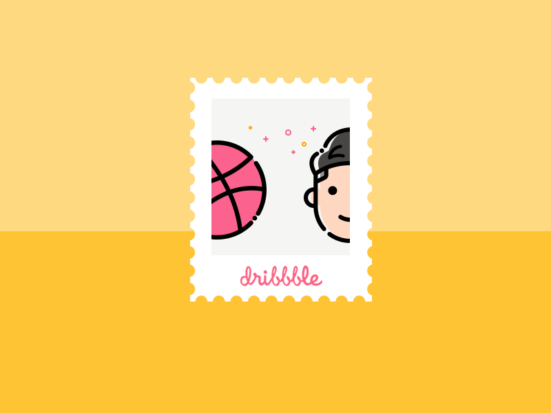 Hello Dribbble first shot stamp invition