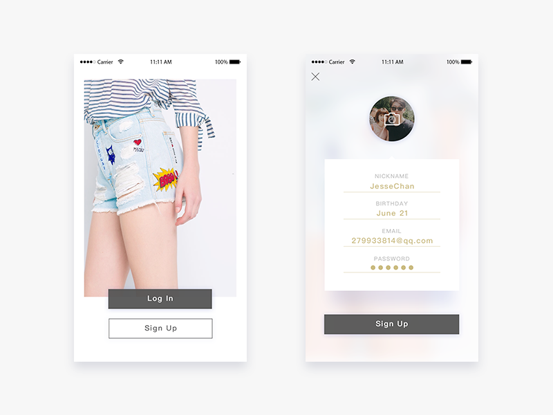 Daily UI #01 Sign Up sign up daily ui app stylish fashion