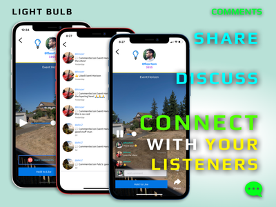 Commenting Feature App Release mobile flat ios app record lightbulb feature notification like social comment commenting