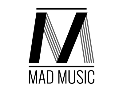 Madmusic Logo classic black and white monochrome trademark music label logo