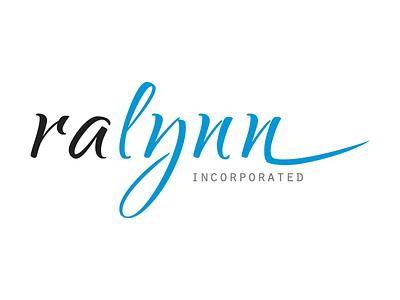 ralynn inc blue cursive simple handwriting script corporate business logo company logo