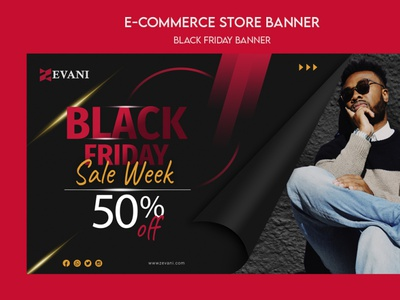 BLACK FRIDAY | E-COMMERCE BANNER | HALASH community red agency ui wordpress website sale balckfriday ecommerce illustration minimal landingpage design branding banner