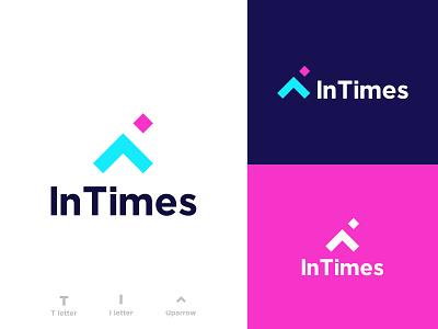 In Times logo Design idea watch colurful design smartlogo icon arrow creative barnding concept timer checkmark time branding agency simple logos clock uparrow lettert letteri