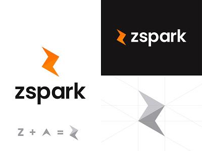 Zspark Logo design energy design logo creative simple minimal power transparent mark lighting play sports logo design app icon application letterz rocket branding identitydesign spark