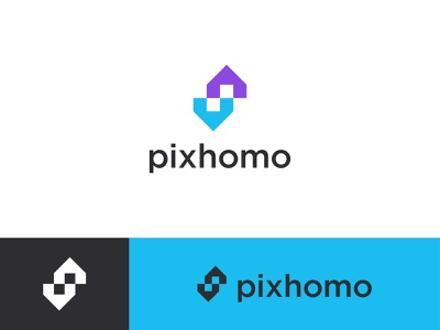 Pixhomo -home+ Letter P +Letter S +pixel Logo Design wordmark website smart realestate minimal vector illustration branding identy pixel s p logos pixhomo home icon logotype house logodesign visual identity