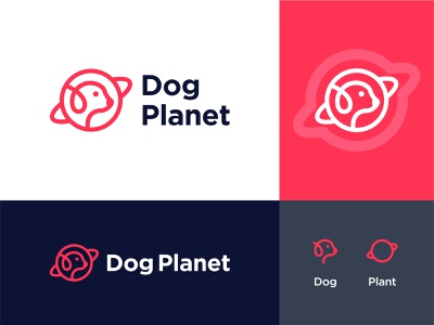 Dog Planet animal space orbit plant mark symble agency simple creative minimal cute puppy petshop pets paw dog logo logo dog branding cat