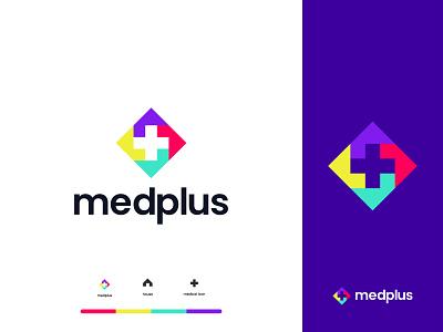 Medplus Logo Design mark icon logotype concept colorful cross media pharma clever health simple branding logos minimal dentistry medicine brand pharmacy plus medical logo