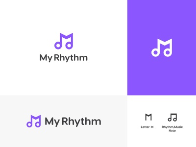 My Rhythm Logo Design rhythm lettermark music note concept audio techno sound dance event design logo branding show vector minimal flat brand identity symbol facebook