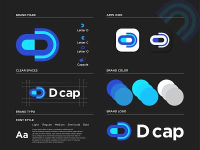 D cap Logo Design initial monogram logo mark letter d logo idea capsule medicine branding illustrations pharmacy medical icon health company modern logo mark creative concept doctors