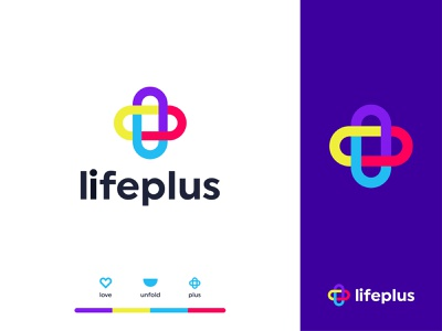 lifeplus logo design unfold logo type mark medical logo pharmacy medicine dentistry health cross pharma branding creative colorful logo design plus typeface symbol lettermark lettering app icon design modern